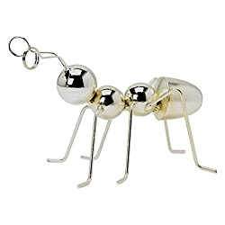 Silver Metal Ant Figurine with Metal Clip Antennae